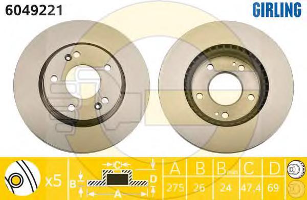 6049221 Диск тормозной HYUNDAI ELANTRA 1.6 06- передний вент.D=275мм.