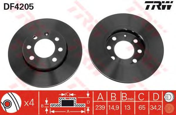 DF4205 Диск тормозной AUDI A2 1.2TDI 01-05/VW LUPO 1.2TDI/1.4TDI 99-05 передний