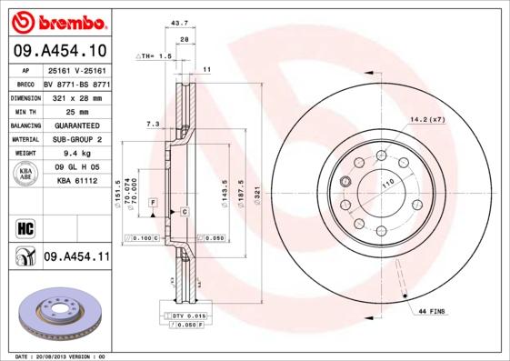 09A45410 Диск тормозной OPEL ASTRA H 2.0 05-/ZAFIRA 2.0 06- передний вент. D=321мм.
