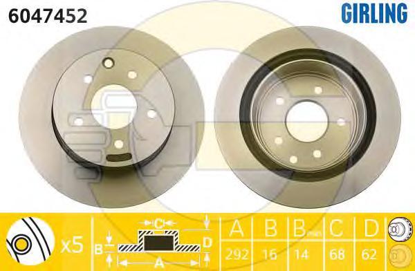 6047452 Диск тормозной NISSAN QASHQAI/X-TRAIL/RENAULT KOLEOS задний вент.D=292мм.