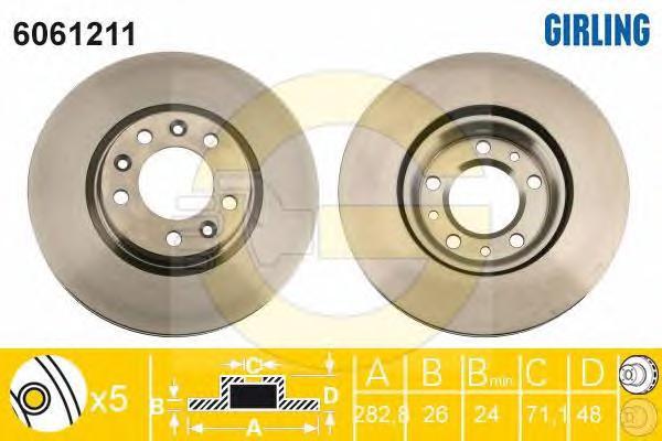 6061211 Диск тормозной PEUGEOT 407 04-/607 05-/508 10- передний вент.D=283мм.