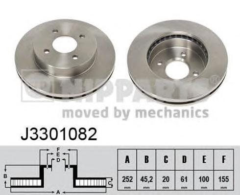 J3301082 Диск тормозной NISSAN ALMERA (N15) 95-00 передний вент.D=252мм.