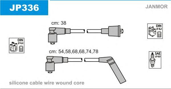 JP336 Комплект проводов зажигания MITSUBISHI: MONTERO  82-91, PAJERO I 82-91, SIGMA 90-96, SIGMA Break 93-96, SIGMA Station Wag