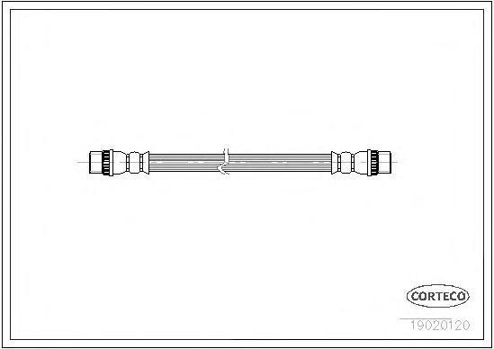 19020120 Шланг тормозной OPEL: VIVARO Combi 1.9 DI/1.9 DTI/2.0 16V/2.5 DTI 01-, VIVARO фургон 1.9 DI/1.9 DTI/2.0 16V/2.0 CDTI/2.