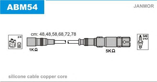 ABM54 Комплект проводов зажигания AUDI: A4 95-00, A4 Avant 95-01, A6 94-97, A6 Avant 94-97, A8 94-02, CABRIOLET 91-00
