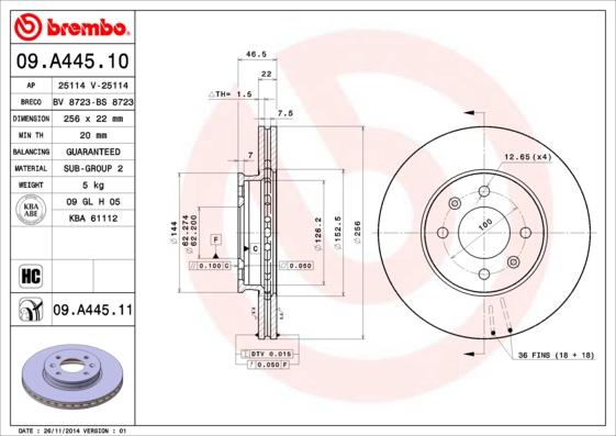 09A44510 Диск тормозной HYUNDAI ACCENT 05-/i20 08-/KIA RIO II 05- передний вент.