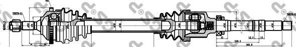 245035 Привод в сборе PEUGEOT 206 1.1-1.6 98- прав. +ABS