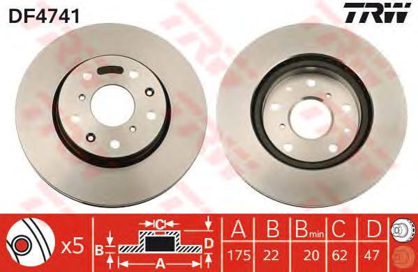 DF4741 Диск тормозной SUZUKI SX4 06- передний вент.D=280мм.