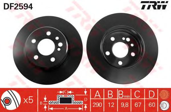 DF2594 Диск тормозной MERCEDES W140 280-350 задний D=290мм.