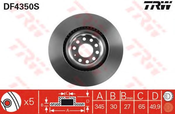 DF4350S Диск тормозной AUDI A3 03-/VW GOLF V/PASSAT 05- передний вент.D=345мм.