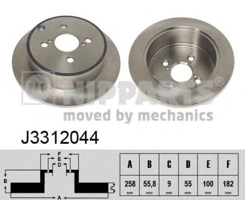 J3312044 Диск тормозной TOYOTA COROLLA (E12) 1.4-1.8 02- задний