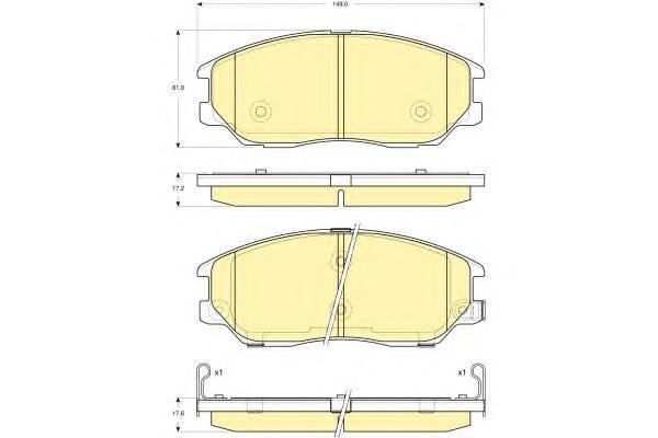 6133609 Колодки тормозные HYUNDAI TERRACAN 01-/KIA OPIRUS 03- передние