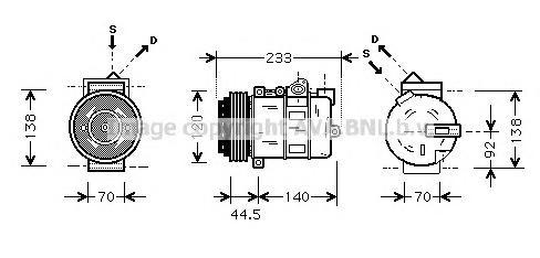 MSAK277 Компрессор кондиционера MERCEDES-BENZ: C-CLASS (W202) C 180 (202.018)/C 200 (202.020)/C 200 CDI (202.134)/C 200 D (202.1
