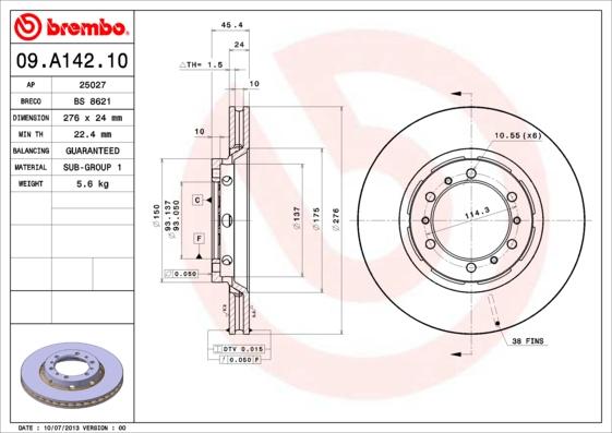 09A14210 Диск тормозной MITSUBISHI: L 400 фургон 96-, SPACE GEAR 95-00