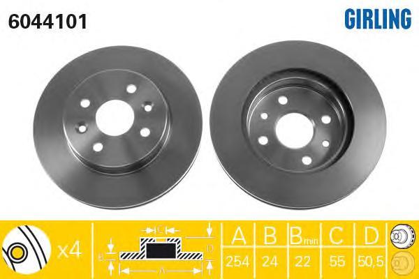 6044101 Диск тормозной KIA RIO 00-05 передний вент.D=254мм.