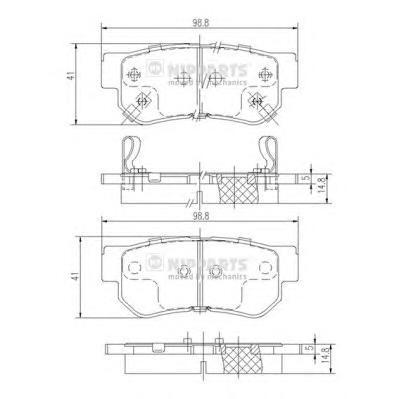 J3610509 Колодки тормозные HYUNDAI GETZ/MATRIX/SANTA FE/SONATA/TUCSON/KIA SPORTAGE задние