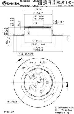08A61241 Диск тормозной MERCEDES W204 180-300 07- задний D=300мм.