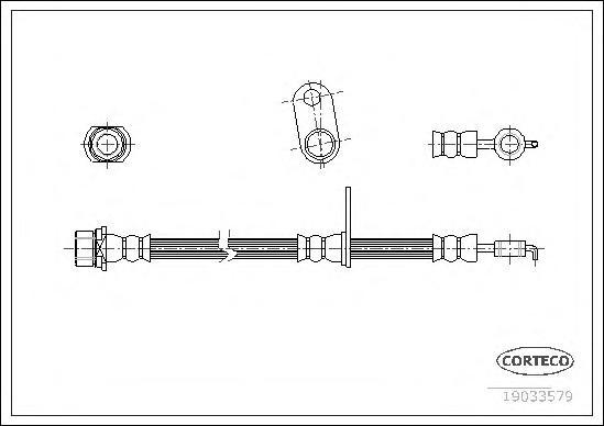 19033579 Шланг тормозной Fr L 610мм TO 02-09
