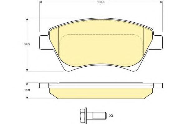 6115524 Колодки тормозные RENAULT KANGOO 01-/MEGANE II 02-/SCENIC II 03- передние