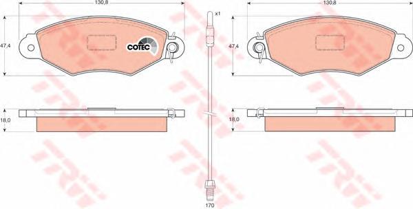 GDB1402 Колодки тормозные NISSAN KUBISTAR 03-/RENAULT KANGOO 97- передние с датч.