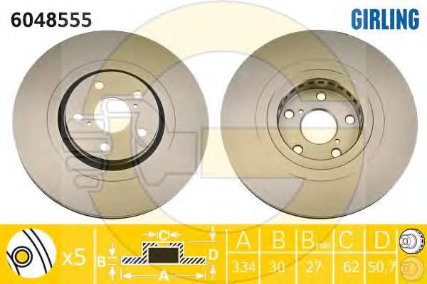 6048555 Диск тормозной LEXUS GS 300-460 05- передний левый