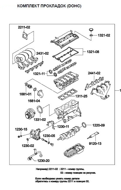 93740513 Комплект прокладок двигателя CHEVROLET AVEO 1.4/1.6
