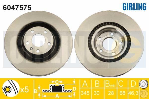 6047575 Диск тормозной AUDI A4 S4 2.0/4.2 quattro 03-09 передний D=345мм.
