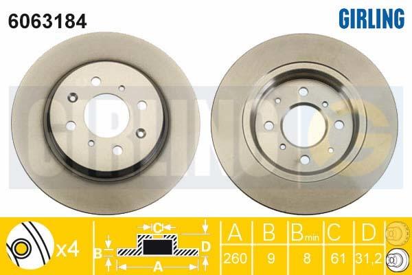 6063184 Диск тормозной HONDA INSIGHT 1.3 Hybrid 09- передний D=260мм.