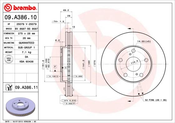 09A38610 Диск тормозной TOYOTA AVENSIS 01-/CAMRY 91-01/PREVIA 00- передний вент.D=275мм.