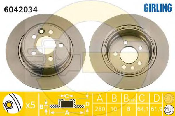 6042034 Диск тормозной ROVER 75 99-/MG ZT 01- задний