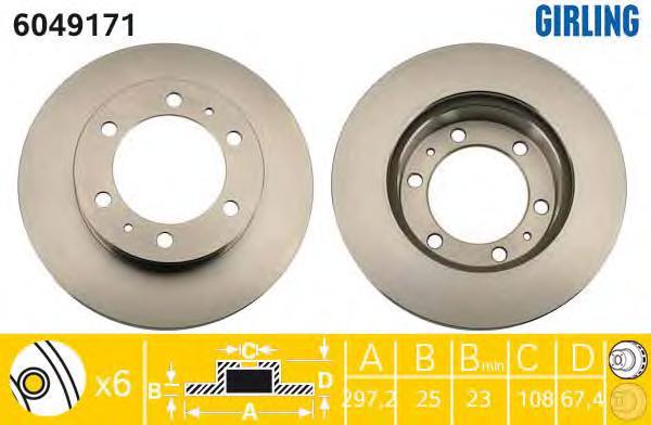 6049171 Диск тормозной TOYOTA HILUX 06- передний вент.D=297мм.