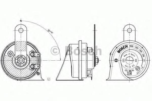 6033FB1214 Сигнал звуковой EC9-C 12V 60W 510Hz Black