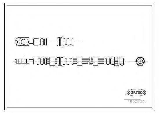 19035934 Шланг тормоз. 593мм Fr VAG A3 Gl4 4x4 97-03