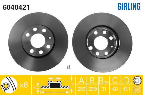 6040421 Диск тормозной OPEL ASTRA G 1.2-2.0 98-05 передний D=256мм.