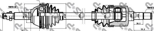 218036 Привод в сборе FORD TRANSIT 00-06 лев. +ABS
