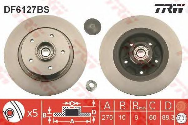 DF6127BS Диск тормозной RENAULT MEGANE II 2.0D 05- задний с подшипником,с кольцом АБС