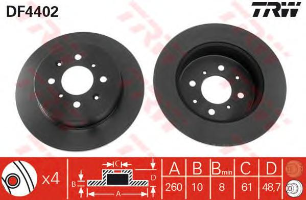 DF4402 Диск тормозной задн HONDA: CIVIC VI Hatchback 01-05,  MG: MG ZR 01-, MG ZS 01-, MG ZS Hatchback 01-