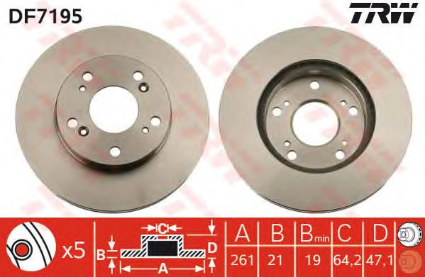 DF7195 Диск тормозной HONDA CIVIC 01-/STREAM 01- передний вент.D=262мм.