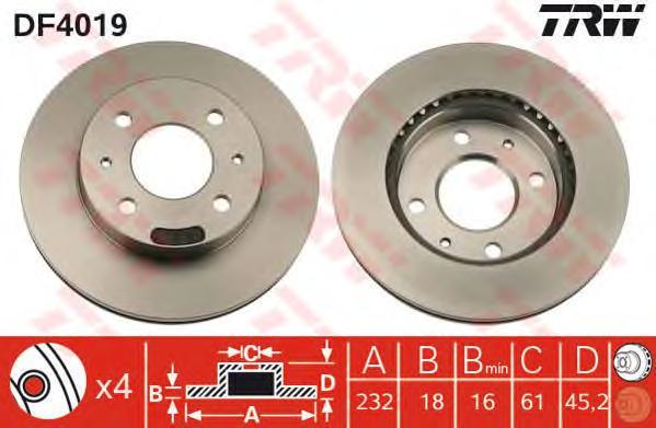 DF4019 Диск тормозной NISSAN ALMERA (N15) 1.4 95-00 передний вент.D=232мм.