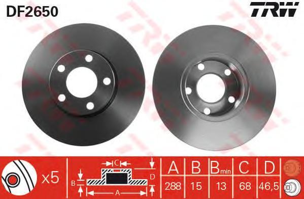 DF2650 Диск тормозной AUDI A100 9095/A4 9500/A6 9497 передний не вент.