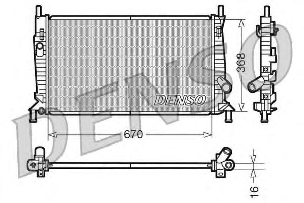 DRM10075 Радиатор системы охлаждения FORD: FOCUS C-MAX 1.6/1.6 TDCi/1.8/2.0/2.0 TDCi 03 - 07  MAZDA: 3 (BK) 1.4/2.0 03 -  VOLVO: