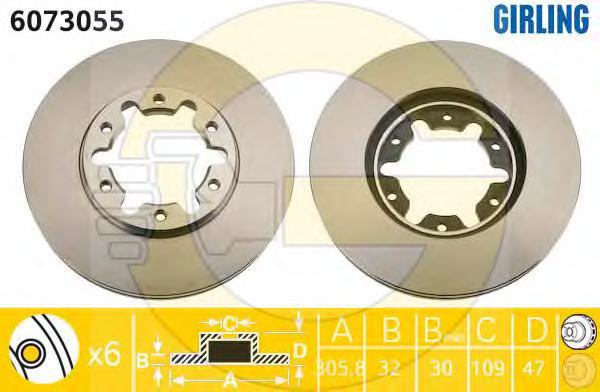 6073055 Диск тормозной NISSAN PATROL 2.8D-3.0D 97-10 передний