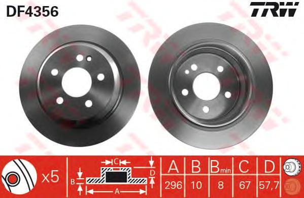 DF4356 Диск тормозной MERCEDES VIANO/VITO W639 2.0-3.7 03- задний