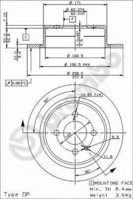 08394724 Диск тормозной BMW E30 82-94 задний D=258мм.