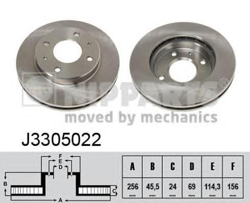 J3305022 Диск тормозной MITSUBISHI GALANT 8804/CARISMA 9506/VOLVO S40 9504 передний