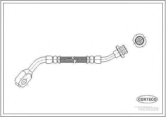 19030529 Шланг тормозной Fr R 333 мм FO, NI Terrano 87-02