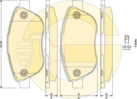 6117504 Колодки тормозные FIAT DOBLO 01- передние