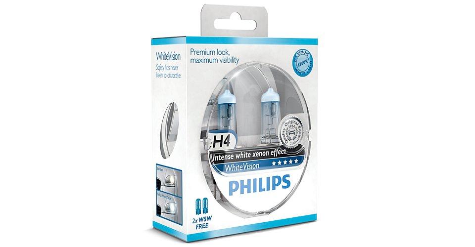 12342WHVSM Лампа H4 WhiteVision 4300К 12V 60/55W P43t-38 (компл.2шт+2шт)