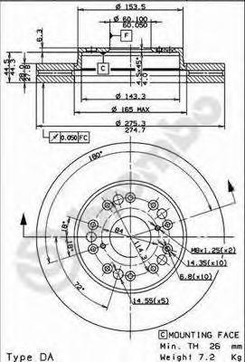 09917810 Диск тормозной LEXUS LS 400 89-94 передний вент.D=275мм.