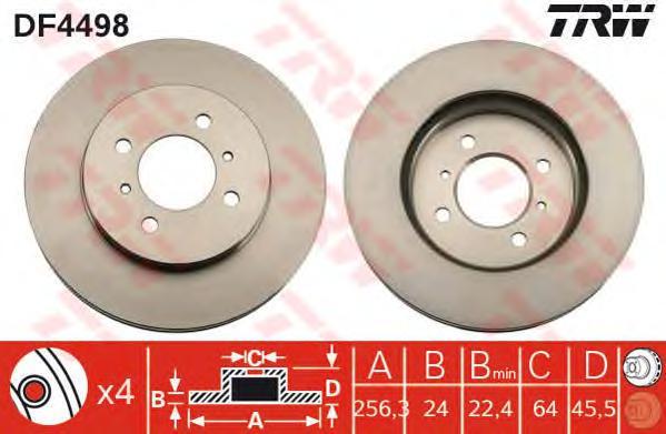 DF4498 Диск тормозной MITSUBISHI COLT 1.8 9297/LANCER R14 1.3-1.8(GEN) 00 передний